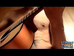 Straight musician has a guitar solo before masturbating