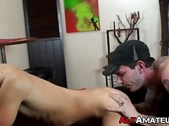 Goth gay guy gives head and takes it in the ass from behind