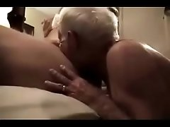Gray haired grandpa suck huge cock and get it in his ass