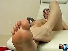 Feet adoring twink makes his rock hard cock squirt hot jizz