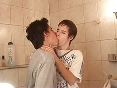 Two barely legal eastern twinks in bathroom - blowjob scene