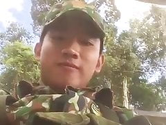 cute asian young military shows his cut dick on cam (18'')