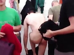 French naked guys in group shower at festival