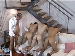 Unruly twinks team up to suck and rim a mature cop