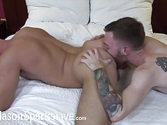 Skinny ginger stud fucks hunk after eating his ass