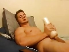Handsome Boy Fucks His Fleshlight And Cums On Abs!
