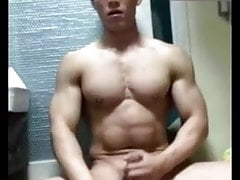 Korean Muscle Dude with hot abs jerk and cum