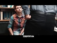 YoungPerps - Twink shoplifter boy barebacked by security guard for stealing