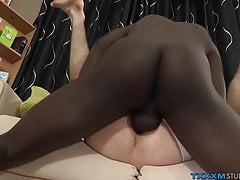 Slender twink loves taking giant black cock in the ass