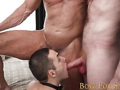Young sub hammered raw by two handsome and dominant daddies