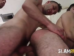 Young hairy guy group fucked