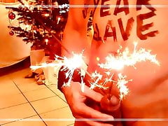 naked slave HAPPY NEW YEAR body writing sparkler BDSM CBT