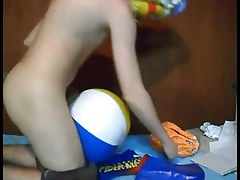 Inflatable toy play beach ball humping orgasm