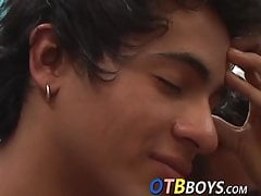 Cute latino amateur twink rides rock solid boner outdoors