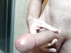 Hot twink boy big oiled cock edge and precum