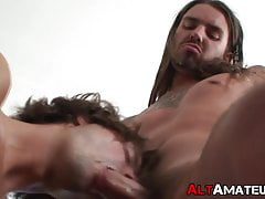 Inked punk bouncing on handsome boyfriends fat cock