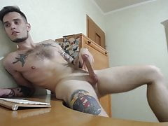 hot 23yo tattooed college boy George shoots a nice load