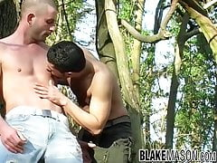 UK jocks Jack Masters and Declan anal fuck in the woods