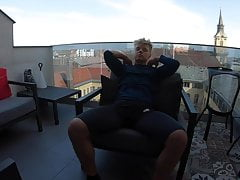 fit as fuck blond muscle hunk wanks on the balcony