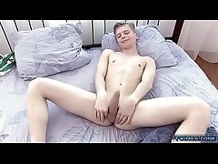 Shaved twinks rimjob with cumshot