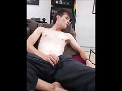 Young slim twink strip wank and messy self-facial